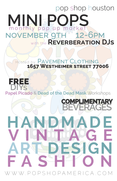 Mini Pops Monthly Art Market Poster | Mini Pops Montrose Craft Fair at Pavement Clothing and Leopard Lounge Vintage