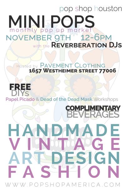 Mini Pops Monthly Art Market Poster | Mini Pops Montrose Craft Fair at Pavement Clothing and Leopard Lounge Vintage