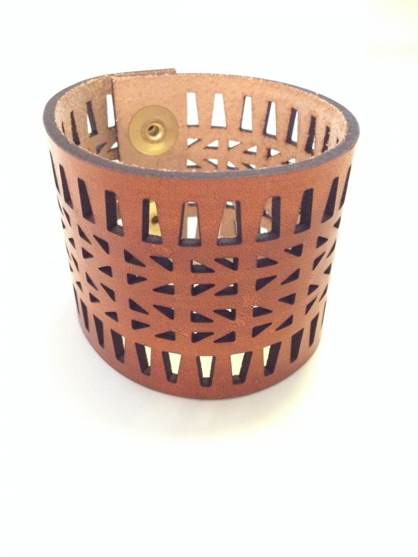 Laser Cut Leather Cuff by Curare Sweets | Handmade Leather Bracelets from Austin, TX