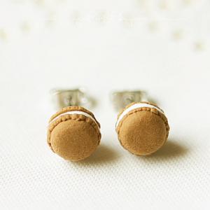 Chocolate Macaron Stud Earrings | Food Jewelry | Handmade Cookie Earrings