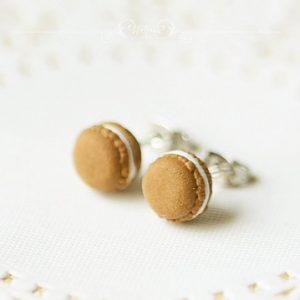 Chocolate Macaron Stud Earrings