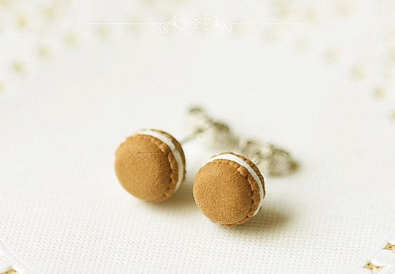 Chocolate Macaron Stud Earrings 2 - Food Jewelry | Handmade Jewelry at Pop Shop America