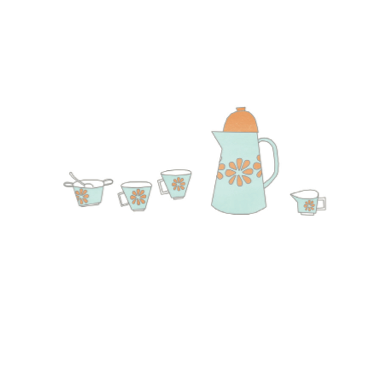Vintage Coffee Set with Daisies Illustration | Greeting Cards | Paper Goods for Sale at Pop Shop America Online Boutique
