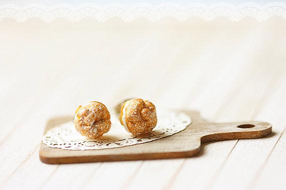 Profiteroles Stud Earrings 2 | Tiny Food Jewelry | Handmade Earrings at Pop Shop America Online Boutique