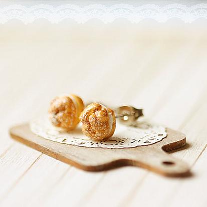 Profiteroles Stud Earrings | Food Jewelry | Handmade Cookie Stud Earrings