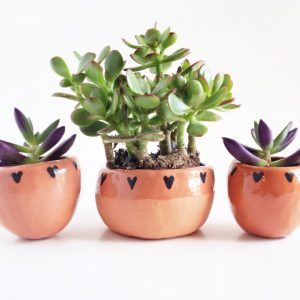 Terra Cotta Planters with Hearts | Tiny Ceramics | Handmade Ceramic Terrariums | Made in Texas