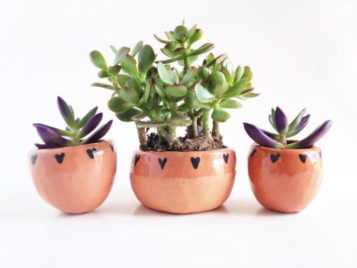 Terra Cotta Planters with Hearts | Tiny Ceramics | Handmade Ceramic Terrariums | Made in Texas