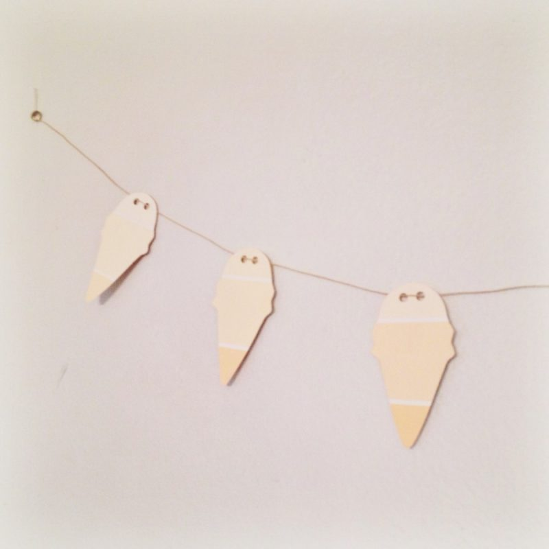 Ice Cream Cone Garland | How to Make an Ombre Garland with Paint Samples | Inexpensive Craft Ideas