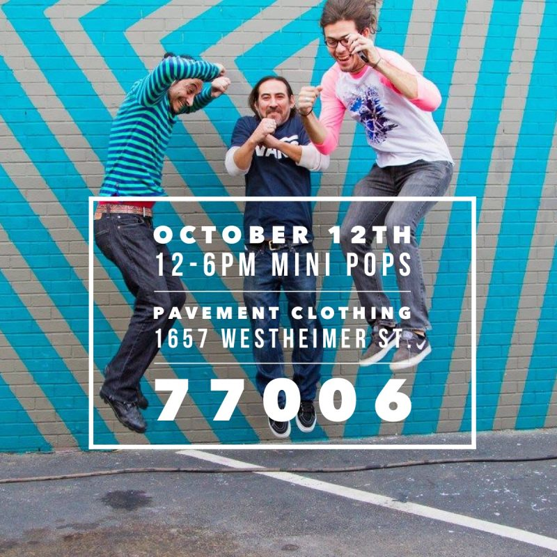Flyer for Mini Pops Monthly Art Market Montrose | Craft Fairs Houston | Events at Pavement Clothing | Westheimer and Dunlavy Shopping