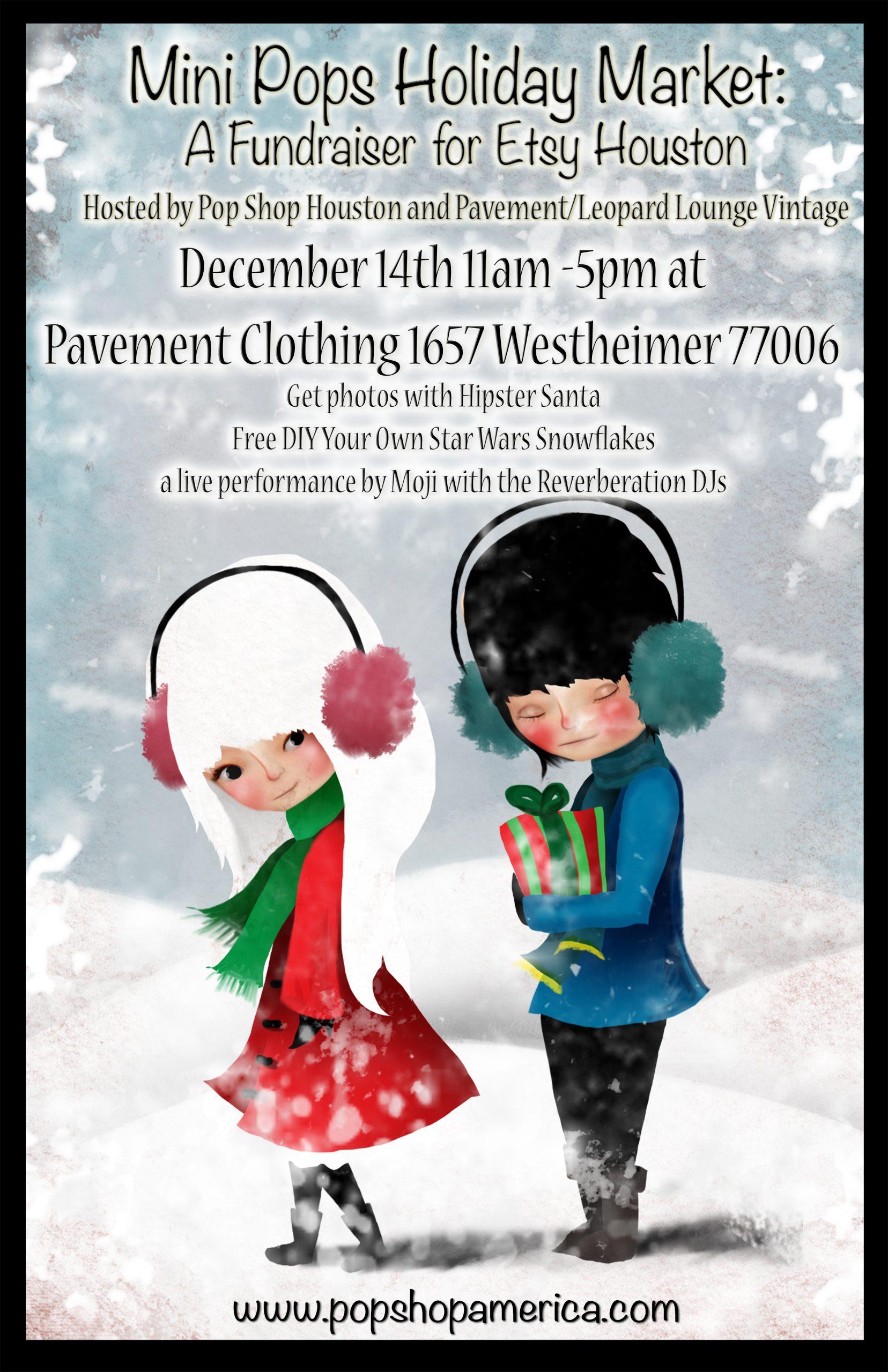 Mini Pops Monthly Craft Fair Montrose Dec. 14th Poster by Jessica Von Braun | Shop Local Houston