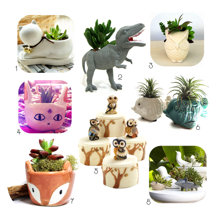 Cutest Ever Animal Planters These animal planters are so cute. There are kitty planters, owl planters, dino planters and more.