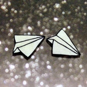 Paper Airplane Earrings | Handmade Shrinky Dink Earrings | Etsy