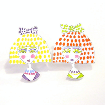 Two Girls Brooches   Etsy   Shrinky Dink Jewelry
