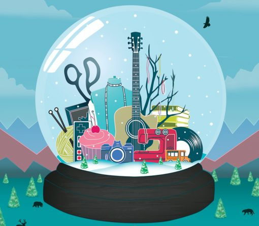 Snowglobe | Pop Shop Houston poster | Michael C. Rodriguez | Design Festival | Craft Fair