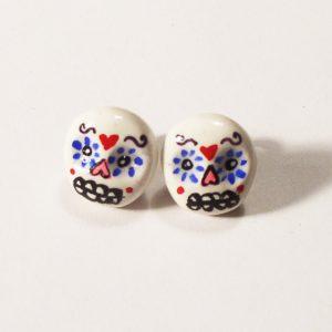Sugar Skull Stud Earrings | Kawaii Style Skull Earrings | Handmade Earrings by Komodokat | Kawaii Jewelry at Pop Shop America Online Boutique