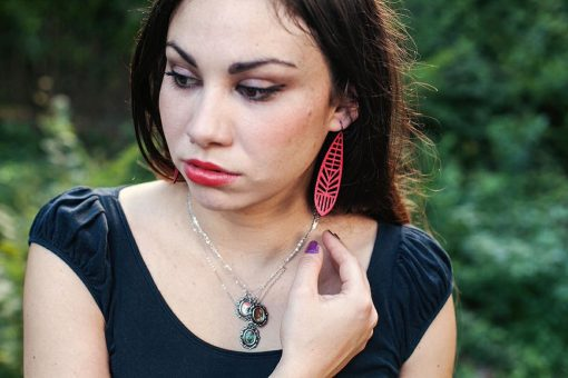 Laser Cut Leather Earrings   Fashion Photography   Kitten Necklaces   Curare Sweets   Made in Texas