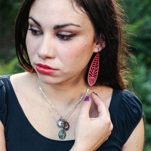 Val wearing Curare Sweets Earrings and Kitten Necklaces | Laser cut Leather Earrings | Sterling Silver Kitten Necklaces | From the Hallows Look Book | Handmade Jewelry at Pop Shop America Boutique