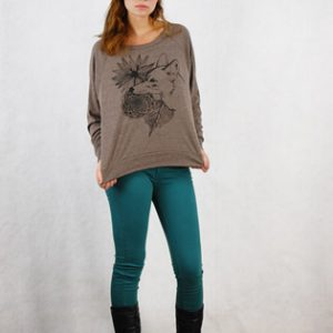 Supermaggie Coyote Coffee Tri Blend Pullover | Coyote Brown Silk Screen Long Sleeve T-Shirt | Handmade in Texas | Online Shopping Website Pop Shop America Boutique
