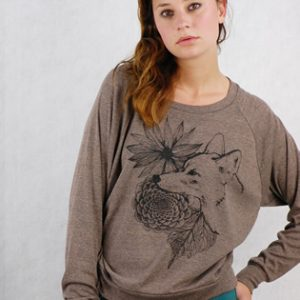 Supermaggie Coyote Brown Sweatshirt | Silkscreened T Shirts by Supermaggie Austin TX | Shop Clothing at Pop Shop America