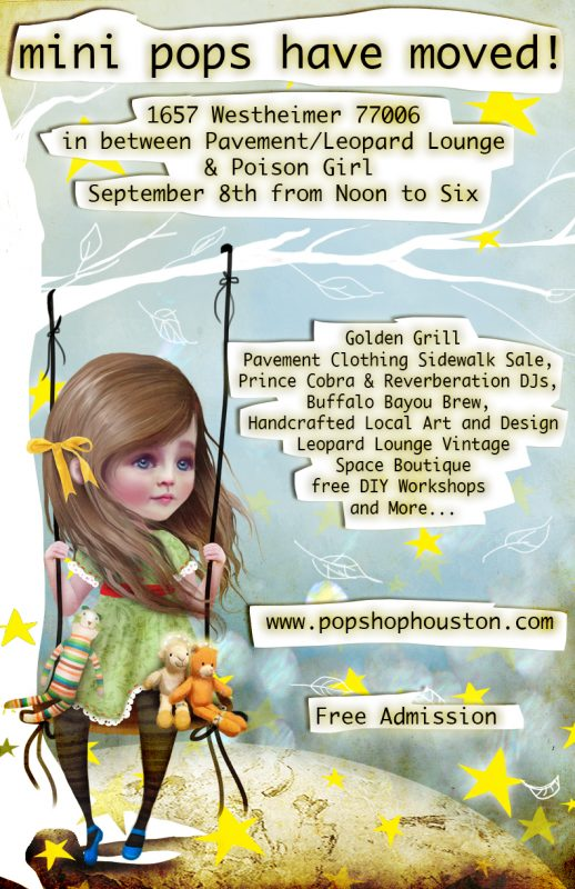 Mini Pops Art Market Poster by SoloCosmo | Poster Art by Jessica Von Braun | Mini Pops is a Monthly Craft Fair in Montrose at Pavement Clothing