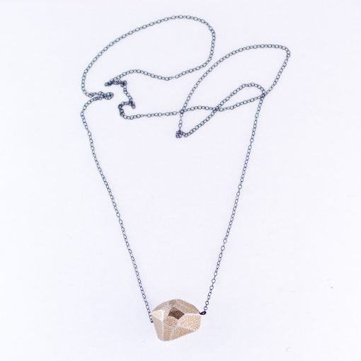 Sterling Silver Rock Necklace | 3d printed necklace | 3d printed rock jewelry by The Future Future | Made in Brooklyn New York | Shop at Pop Shop America
