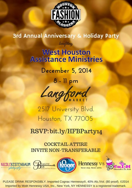 The 3rd Annual Houston Fashion Bloggers Holiday Party takes place Dec. 5th at Langford Market Rice Village.