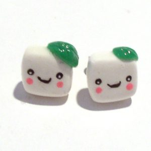 Tofu Stud Earrings Kawaii Jewelry by Komodokat | Cute Jewelry at Pop Shop America Online Shopping Website