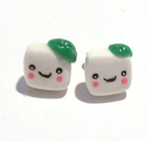 Tofu Stud Earrings Kawaii Jewelry by Komodokat | Cute Jewelry at Pop Shop America Online Shopping Website