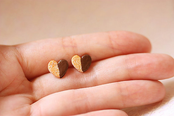 Heart Cookie Stud Earrings | Unique Jewelry and handmade Jewelry at Pop Shop America Online Shopping Website | Cute Jewelry at Pop Shop America