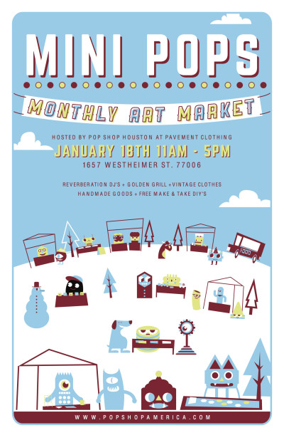 Mini Pops Monthly Art Market Poster January 2015 by Blake Jones Artist