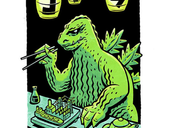stovepipe vintage inspired artwork godzilla eating sushi print at pop shop houston events pop - Godzilla Pictures To Print