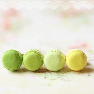 Green Macaron Stud Earrings Food Jewelry Kawaii Earrings