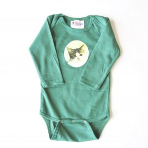 Green Cat Onesie at Pop Shop America Boutique Handmade Kids Clothing