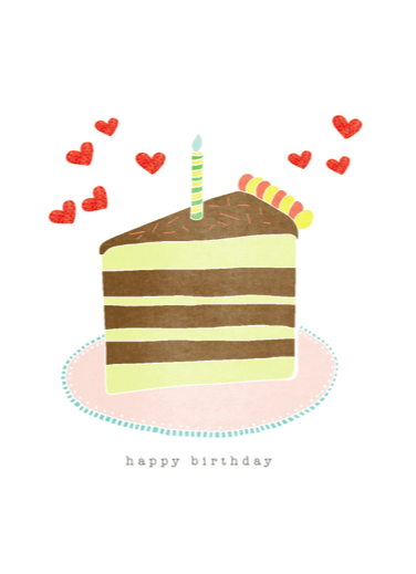 Detail of Happy Birthday Cake Slice Card by Hazelmade