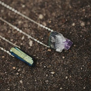 Amethyst Geode Necklace and Quartz Necklace Sterling Silver from Pop Shop America Handmade Jewelry