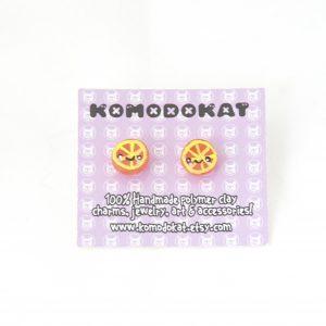 Orange Wedge Kawaii Earrings Handmade Fruit Stud Earrings