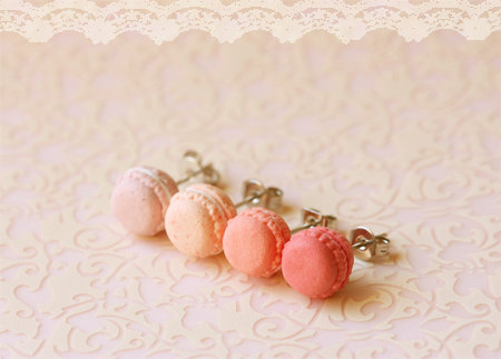 Pink Macaron Stud Earrings Kawaii Jewelry Cookie Earrings