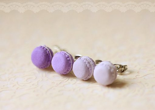 Purple Lavender Macaron Stud Earrings Kawaii Food Jewelry Handmade Jewelry from Pop Shop America