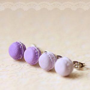 Purple Macaron Stud Earrings Kawaii Jewelry at Pop Shop America Handmade Boutique