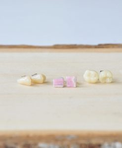 Rhodochrosite and Faux Teeth Detail Photo Shop Gemstone Earrings at Pop Shop America
