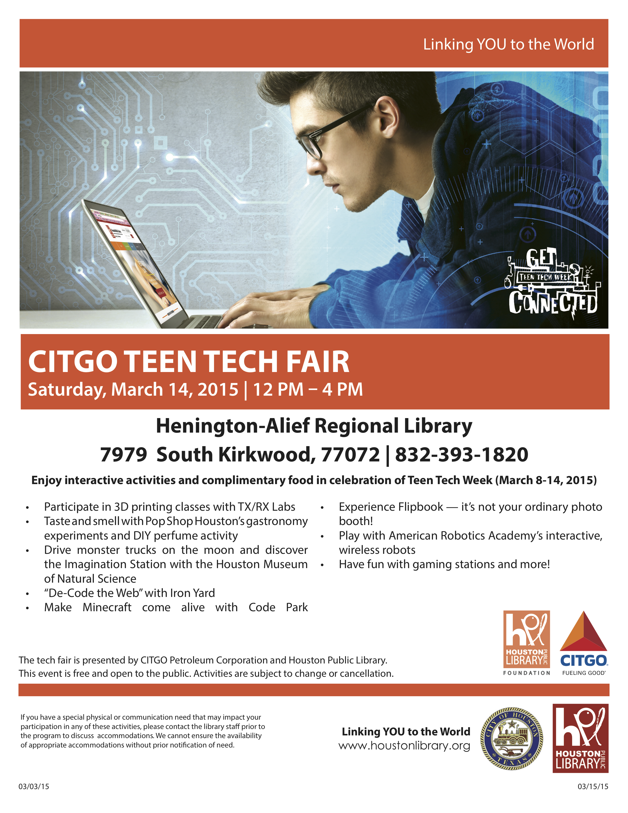 Teen Tech Week at Alief Library Pop Shop America