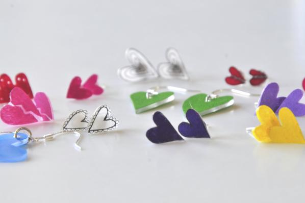 How to Make Heart Earrings | Rainbow Heart Earrings things to make with shrinky dinks | shrinky dink crafting