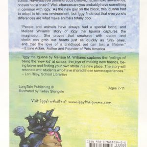 Back of Iggy the Iguana Paperback Book Author Melissa M. Williams