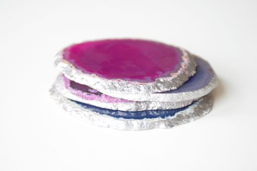 Detail of Pink and Blue Crystal Coasters Gilded Coaster Set