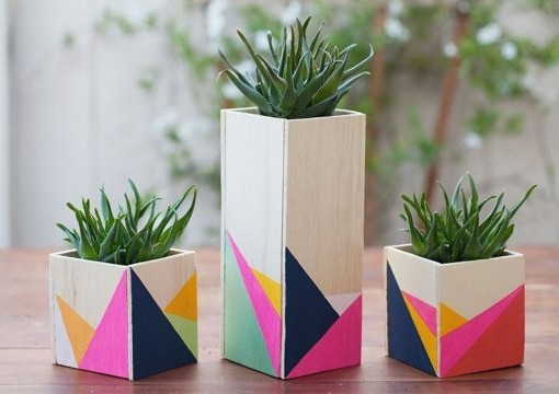 Color Block Vases Terrariums Workshop DIY Color Blocking