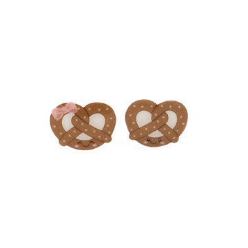 Kawaii Pretzel Shrinky Dink Earrings | Stud Earrings with Happy Face Pretzel | The Coolest Shrinky Dink Jewelry | Handmade Jewelry on Etsy