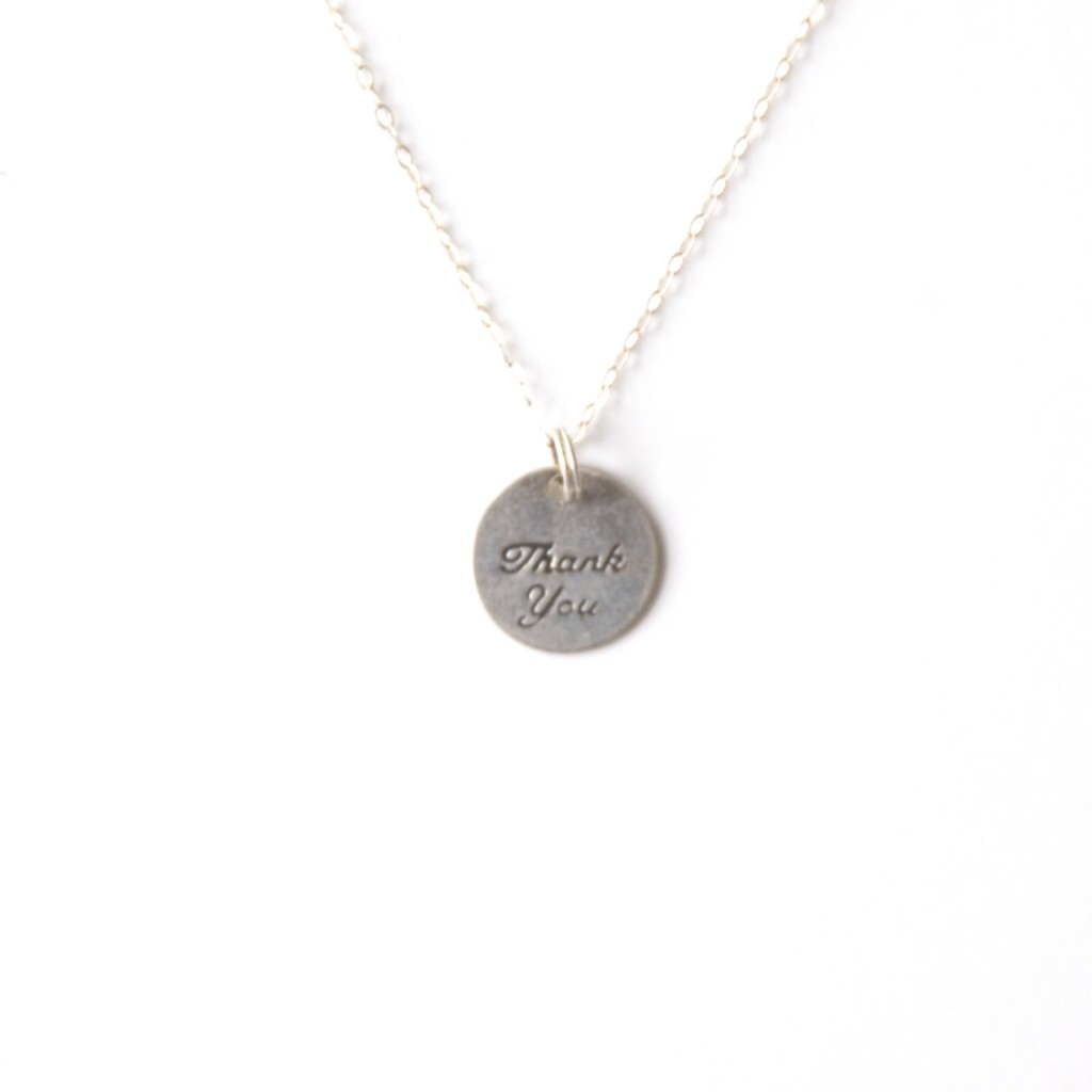 Thank You Necklace Sterling Silver and Pewter Necklace
