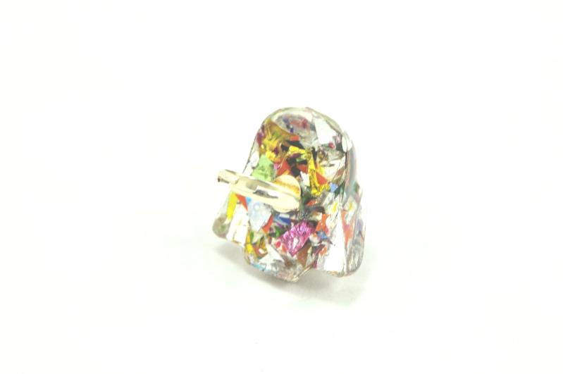 Rainbow Glitter Darth Vader Ring- Back