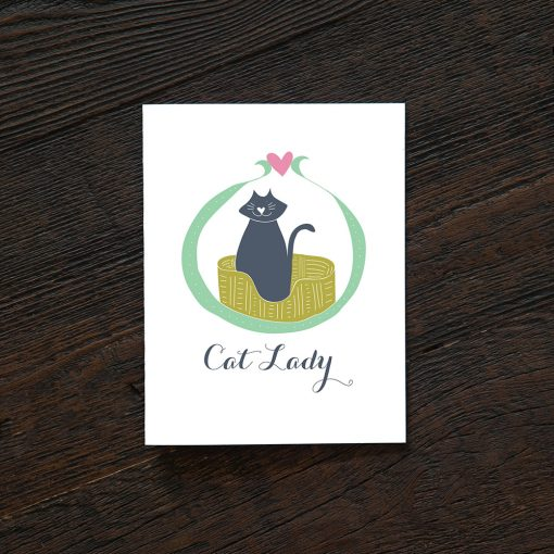 cat lady card handmade greeting cards at pop shop america