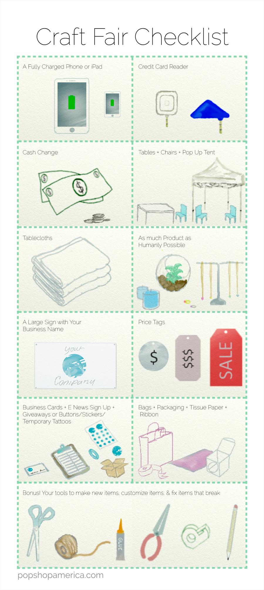 Craft Fair Supply Checklist What to bring to a craft fair